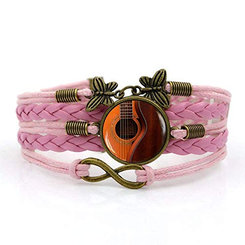 QZH Woven Bracelets For Girls,Pink Rope Fashion Beautiful Music Guitar,Time Gemstone Bracelet Multi-Layer Hand-Woven Glass Combination Jewelry Ladies Fashion European And American Style Jewelry