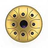 summina Tambor de lengua de acero de 5,5 pulgadas con botón C a 8 notas Handpan Drum Steel Pocket Drum Instrumento de percusión con palos Bolsa de transporte para meditación Yoga Educación Musical