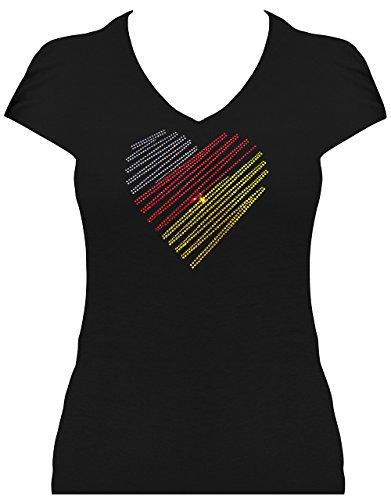 Premium WM Shirt Germany Herz in Strass Deutschland Damen Fussball Fan Shirt WM statt Trikot 2018, T-Shirt, Grösse S, schwarz