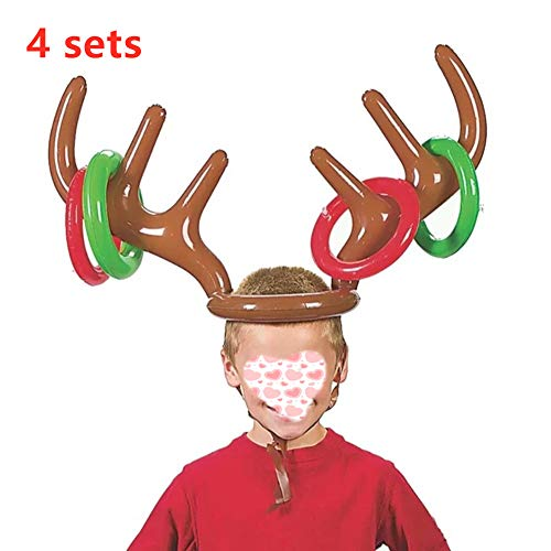 SanQing 4-Pack Schlauchboot-Geweih-Ring-Wurf-Spiel, aufblasbarer Hut für Kinder Erwachsene Indoor Outdoor Karneval Spiel Xmas Family Party Interactive Game (4 Antlers 16 Ringe)