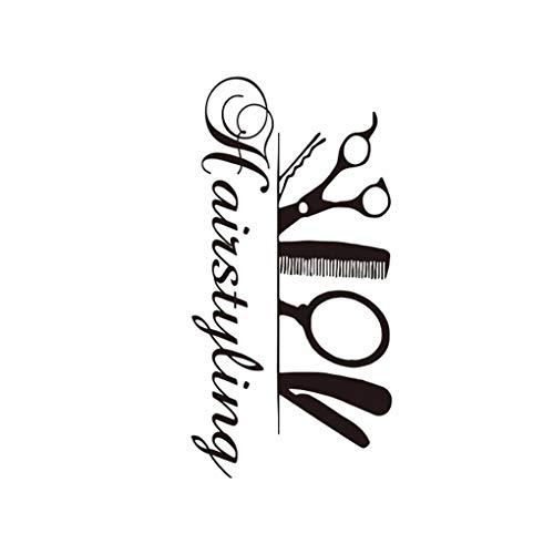 babysbreath17 Peluquería Tijera del Peluquero Etiqueta de la Pared del salón de Belleza del Papel Pintado del Arte de DIY PVC Muebles de la Sala de Estar Calcomanías