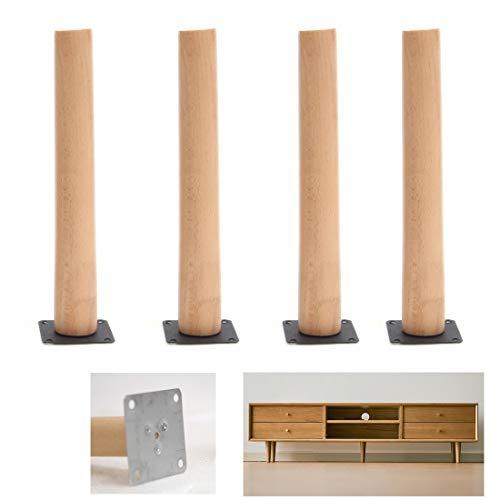 Möbelbeine aus Massivholz, Sockelfüße für Sofa, Couchtisch, Ersatzbeine aus Buche, gerade kegelförmig, für Fernseher, Couch, Bett, Sessel, Tische, mit Montageplatte und Schrauben (70 cm)