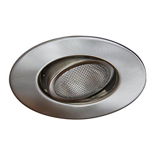 Eco Lighting NY HV5004SN 5-Inch Line Voltage Trim Recessed Light fit Halo/Juno, Adjustable Gimbal Ring Trim, All Satin Nickel