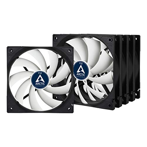 ARCTIC F12 Value Pack - 120 mm Standard Case Fan, Five Pack, Low Noise, Very quiet motor, Computer, Fan Speed: 1350 RPM - Black/White