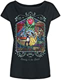 La Bella y La Bestia Rose Mujer Camiseta Negro XL, 100% algodón, Ancho