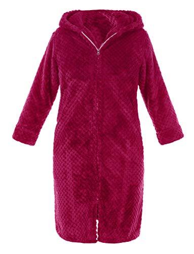 TIANNBU Kinder Bademantel mit Kapuze und Reißverschluss Morgenmantel Frottee Warm Saunamantel für Winter,Roserot 10