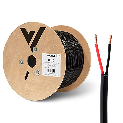 Voltive 10/2 Speaker Wire - 10 AWG/Gauge 2 Conductor - UL Listed in Wall (CL2/CL3) and Outdoor/In Ground (Direct Burial) Rated - Oxygen-Free Copper (OFC) - 500 Foot Spool - Black