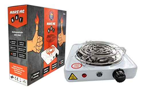 Shisha King® elektrischer Kohleanzünder für Shisha Kohle mit Gitter   1000 Watt   Premium Kohleofen Naturkohle