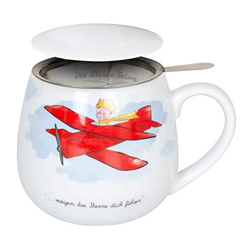 Könitz Der kleine Prinz Flugzeug Becher, Tasse, Teetasse, mit Sieb und Deckel, Porzellan, 420 ml, 11 5 143 2316