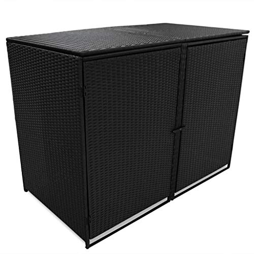 Tidyard Double Wheelie Bin Shed Garden Storage Bin Box Outdoor Recycling lockable with Cover and Doors Poly Rattan Black 148x80x111 cm