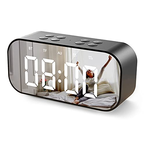 Digital Alarm Clock,Wireless Bluetooth Speakers with Large Number LED Display,Dual Alarm,USB Charger,Mirror,Brightness Dimmer,24Hr,Bedside Desk Clocks for Heavy Sleepers,Kids,Bedroom,Home and Travel