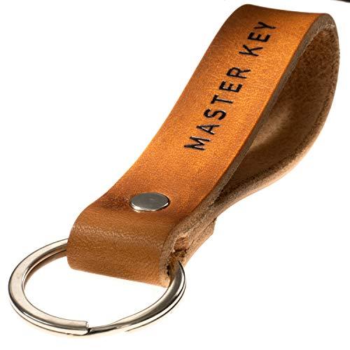 LIEBHARDT Leder Schlüsselanhänger braun Geschenk Frauen Männer Einzug achtsam in Deutschland handgefertigt Gravur/Prägung schwarz (Master Key)