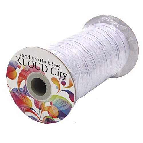 "KLOUD City White 120-Yards Length 1/8"" Width Elastic Cord/Elastic Band/Elastic Rope/Bungee/Black Heavy Stretch Knit Elastic Spool"