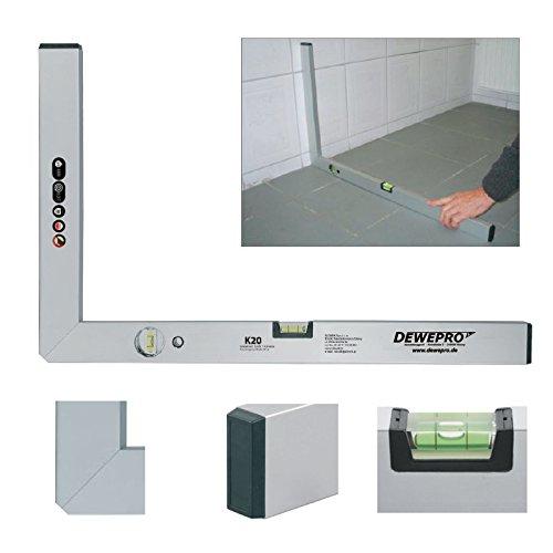 DEWEPRO® Aluminium Bauwinkel 90° mit 2 Libellen - Winkel - Maurerwinkel - Messwinkel - Profilwinkel - Aluwinkel - 120x60cm