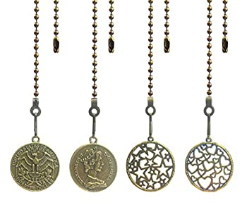 Hyamass 4pcs Vintage Round Coin Charm Pendant Ceiling Fan Danglers Fan Pulls Chain Extender with Ball Chain Connector