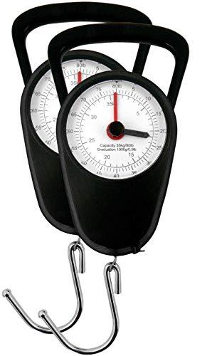 Eaxus® 2er Set Analoge Kofferwaage/Gepäckwaage - Gaswaage bis 35kg mit Gepäckhaken