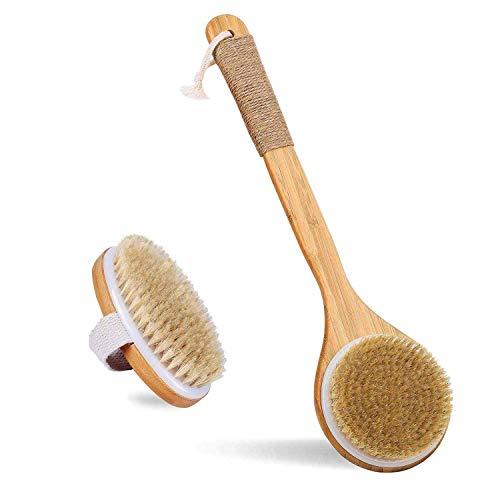 Brosse Pour Le Corps, Brosse de bain,Poils naturels, exfoliation, améliore les hommes et les femmes lymphatiques, stimule la circulation sanguine, élimine les graisses, sertie de 2 crochets muraux