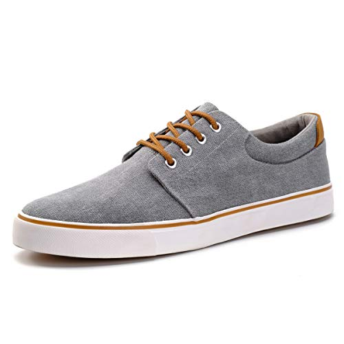 DREAMY STARK Men Waterproof Canvas Shoes Fashion Skate Shoe Casual Low Top Sneakers Grey