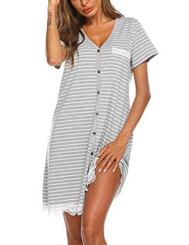 Ekouaer - Camisón de manga corta para mujer, camisón de manga corta para dormir, para lactancia materna, con botón de abajo, pijama., M