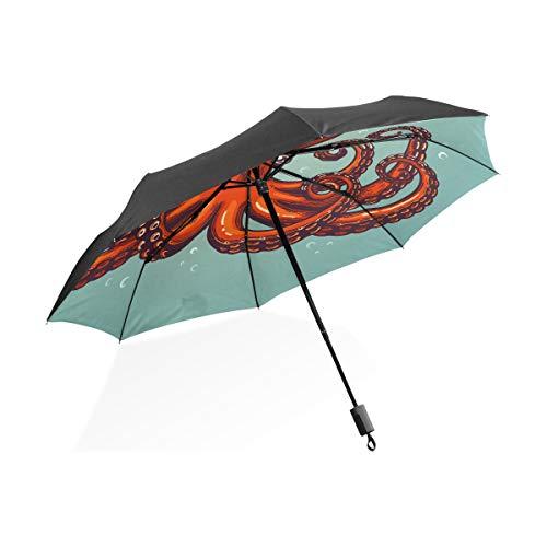 Kleine Regenschirme Für Frauen Octopus Gravur Vintage Farbe Gravur Farbe Tragbare Kompakte Taschenschirm Anti Uv-Schutz Winddicht Outdoor Reise Frauen Riesen-Sonnenschirm