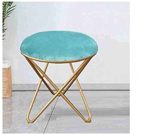 CHU N1 Fußbank, Schmiedeeisen Gepolsterter Sitz Makeup Hocker 35 × 45 cm (Länge × High) 106 (Size : Blue)