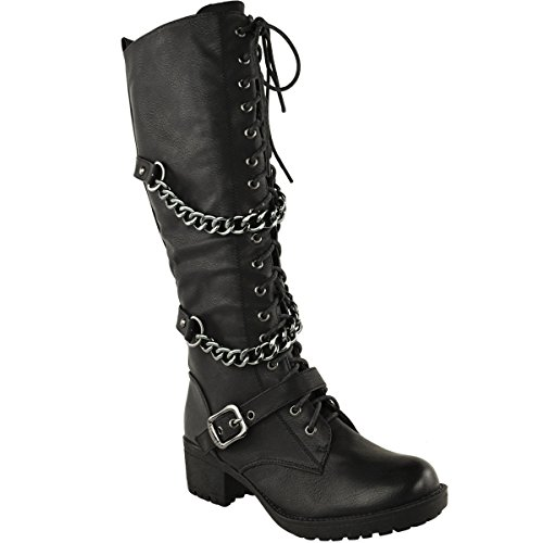 Fashion Thirsty Womens Knee High Mid Calf Lace Up Biker Punk Military Combat Boots Shoes Size 6