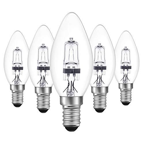 DoRight 5 Pezzi Lampadine Alogene a Candela E14 18W Dimmerabile Bianco Caldo 2700K Retrò Lampadine a Candela C35 Lampadina a Vite Piccola Edison (SES) Copertura in Vetro Trasparente Per lampadario