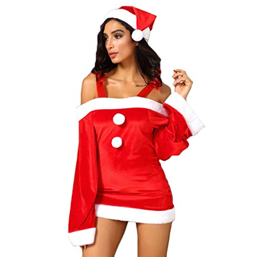 Dasongff Kerstmis dames uit de schouder lange mouwen mini-jurk Kerstman Bodycon jurk