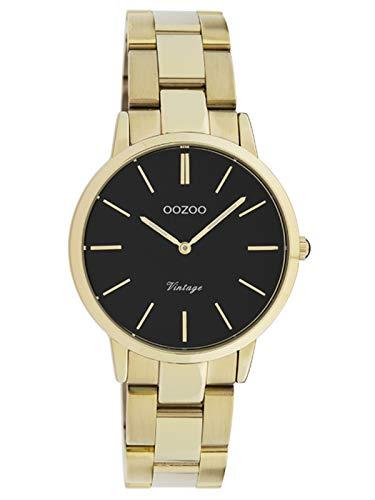 Oozoo Vintage Damenuhr mit Edelstahl Gliederarmband 34 MM Schwarz/Goldfarben C20047