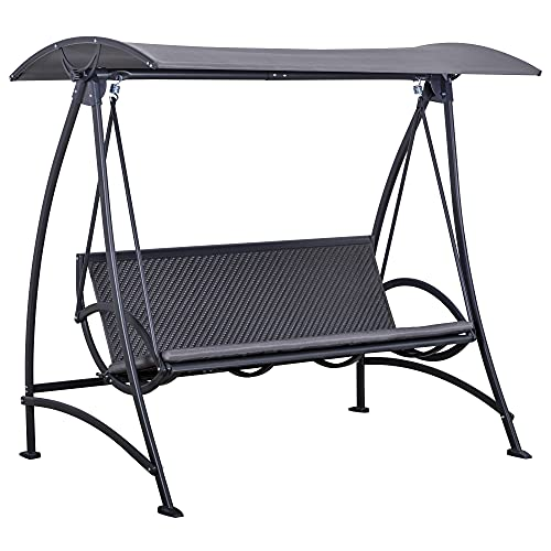 Outsunny 3 Person Rattan Swing Chair Garden Swing Bench Outdoor Hanging Porch Swing w/Adjustable Canopy, Cushion, Steel Frame, Grey