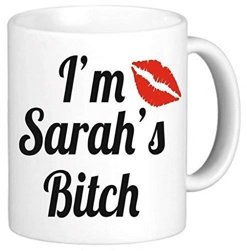 Mattanch Im Sarahs Weibchen-personalisierte Tee-Tasse Einzigartiger lustiger Kaffee mit Sprichwörtern überfällt niedlichen Becher 11oz Keramik-Becher-Geschenk fantastisch