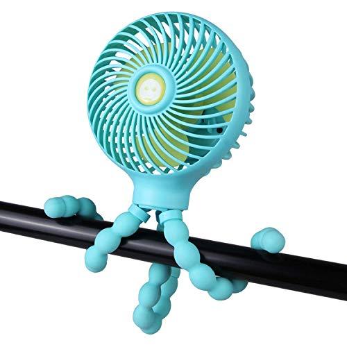 LY1 Mini Ventilador de Cochecito de Mano, Ventilador de Escritorio con Clip Personal y portátil con trípode Flexible,Ventilador USB Recargable Ajustable de 3 velocidades para Camping,Asiento,Rosado