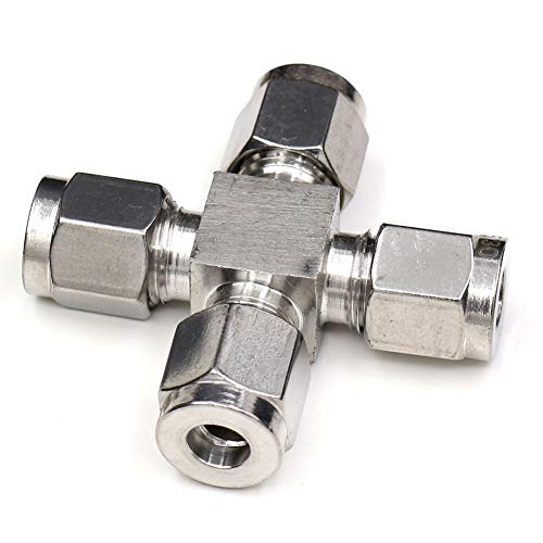 1/4 OD Tube Fitting, CEKER Cross Air Fittings Coupling 4 Way Push Connect Pneumatic Fittings 304 Stainless Steel Air Line Hose Fitting Air Compressor Accessories with Ferrules 1Pack