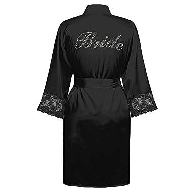 Swhiteme Bridal Robe with Rhinestones, 3/4 Sleeves, Lace Trim