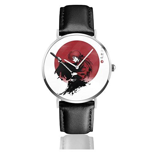 Rurouni Kenshin mit Katana-Uhren, Quarzuhrwerk, Lederarmband mit schwarzem Lederband, Unisex, Geschenk