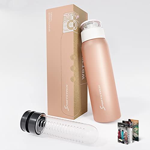 Sportstech Botella Antigoteo, sin BPA, con Infusor para Fruta y Cierre de Seguridad con una sola Mano, incluido e-Book | Botella de agua de 1l para deporte + Correa | 5 elegantes colores |WBT100
