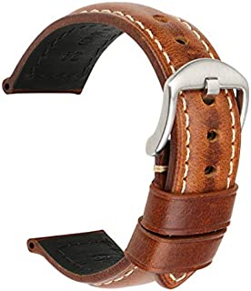 MAIKES Watch Band, Vintage Oil Wax Leather Strap 5 Colors 20mm 22mm 24mm 26mm Watchband Greasedleather Wristband