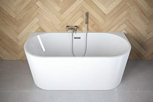 Besco VICA 170 x 80 cm exklusive freistehende Badewanne + Ablaufgarnitur Click Clack mit Überlauf