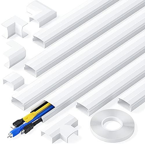 kinkaivy Kabelkanal, 2.4M (6 Stück - 30x17 mm) Kabelkanal selbstklebend weiß, PVC Kabelkanäle TV, Kabelabdeckung um Kabels für Computer zu Hause oder im Büro zu verstecken