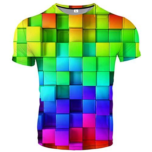 Camiseta Moda De Verano Pareja Tops De Manga Corta Impresión Digital 3D Camisetas Casuales Frescas para Hombres Y Mujeres-Color_Rubik'S_Cube_XXL