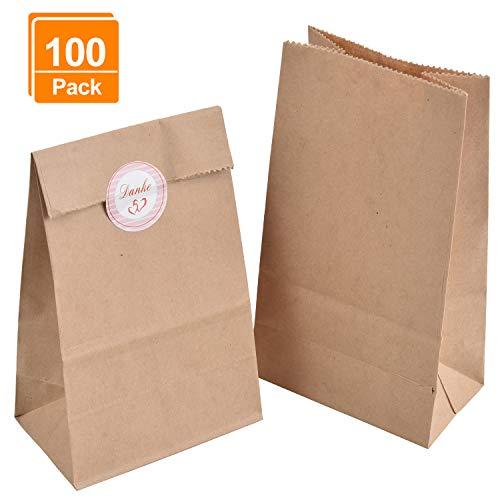100 Geschenktüten, 9 x 16 x 5 cm 70 gr./m² Braune Papiertüten Tütchen Papier-Beutel Kraftpapier Tüten mit 100 Stück Danke Sticker, Ideal für Geschenk-verpackung Brote Keks verpacken Ostertüten