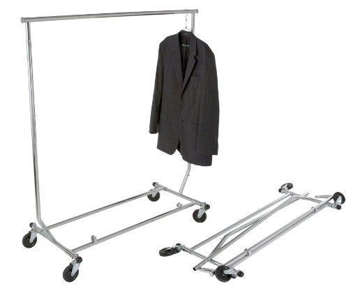 "Chrome Single Rail Classic Rolling Foldable Clothing Rack (""Salesman Rack""; all round tubing)"