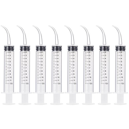 8 Pack Disposable 12cc Dental Syringe Dental Irrigation Syringe with Curved Tip, Tonsil Stone Squirt Mouthwash Cleaner(with Measurement)