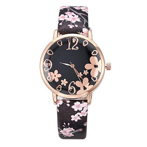 Bokeley Women's Watch, Women's Stainless Steel and Leather Embossed Flowers Quartz Watch (Black)