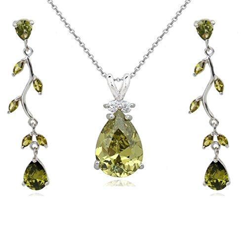 Tropfenform Schmuck-Set mit Grünes Olivin Österreichische Zirkonia Kristalle Halskette 45 cm Ohrhänger 18 kt Weiß Vergoldet