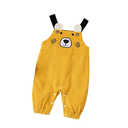 GERsome Kids Boys Girls Overalls Cute Candy Color Cartoon Bear Embroidered Corduroy Jumpsuits Suspender Trousers Clothing Yellow