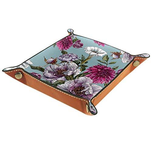 AMEILI Dahlien und Tulpen dekoratives Schmucktablett aus Leder mit Schnappverschluss, für Schlüssel, Handy, Münzen, Geldbörse, Uhren etc., Kaffeebraun