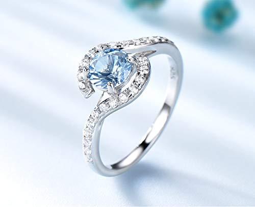 De echte 925 sterling zilveren ringen vrouwen Classic rond de schepper hemelsblauwe edelsteen bruiloft sieraden Valentijnsdag geschenk