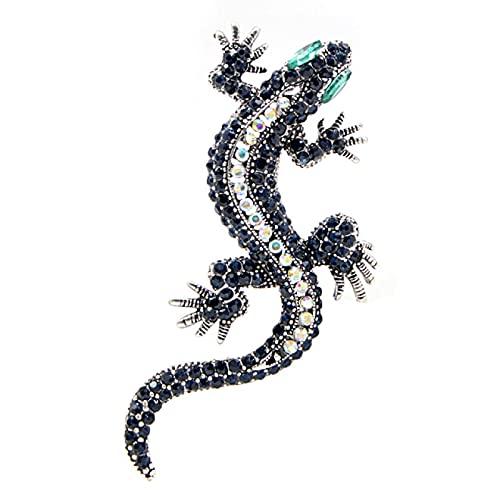 DFHTR Broche De Lagarto con Diamantes De Imitación Color Azul Oscuro Cuerpo Ojo Verde Gecko Broches Joyería De Moda Estilo Animal Broches De Regalo Pin Vintage