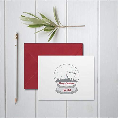 Snowglobe New York City Santa Skyline cute funnyhattan Nyc Reindeer Greeting Cards Holiday & Seasonal Cards, Folded Easter Cards for Birthday Friendship Wedding Anniversary April Fools' Day.